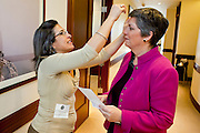 12 JANUARY 2009 -- PHOENIX, AZ: Mary Fenello (CQ) touches up the Governor's hair before Gov. Janet Napolitano went down to the House of Representatives chambers for the State of the State. Arizona Governor Janet Napolitano delivered her last State of the State Monday. She has been nominated to be Secretary of Homeland Security by US President-Elect Barack Obama is expected to be approved by the US Senate next week. She is expected to resign as Arizona Governor after she is approved by the Senate.  PHOTO BY JACK KURTZ