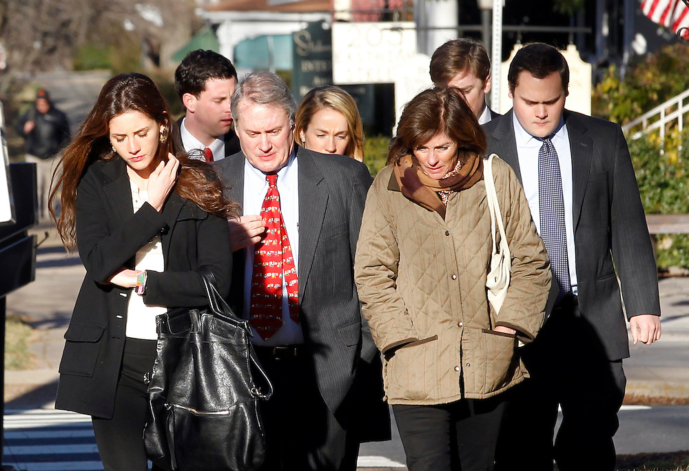 CHARLOTTESVILLE, VA - FEBRUARY 13: Friends and family of George Huguely walk to the Charlottesville Circuit courthouse for the George Huguely trial. Huguely was charged in the May 2010 death of his girlfriend Yeardley Love. She was a member of the Virginia women's lacrosse team. Huguely pleaded not guilty to first-degree murder. (Credit Image: © Andrew Shurtleff