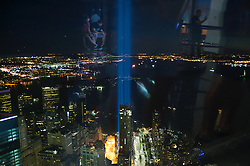 September 12, 2016 - New York, New York, USA - Tribute lights are seen from the One Trade Center on 15th anniversary of the tragedy 9/11 in New York. (Credit Image: © Anna Sergeeva via ZUMA Wire)