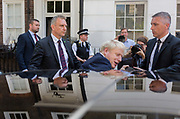 On the day that the Conservative Party elects its leader and the countrys Prime Minister, Boris Johnson gets into his car after leaving the property in Great College Street that he and his campaign team have been using courtesy of Sky TV executive Andrew Griffith, on 23rd July 2019, in Westminster, London, England.