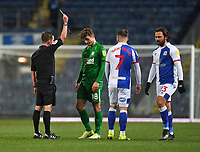 Preston North End's Ryan Ledson is yellow carded by Referee David Webb<br /> <br /> Photographer Dave Howarth/CameraSport<br /> <br /> The EFL Sky Bet Championship - Blackburn Rovers v Preston North End - Friday 12th February 2021 - Ewood Park - Blackburn<br /> <br /> World Copyright © 2021 CameraSport. All rights reserved. 43 Linden Ave. Countesthorpe. Leicester. England. LE8 5PG - Tel: +44 (0) 116 277 4147 - admin@camerasport.com - www.camerasport.com