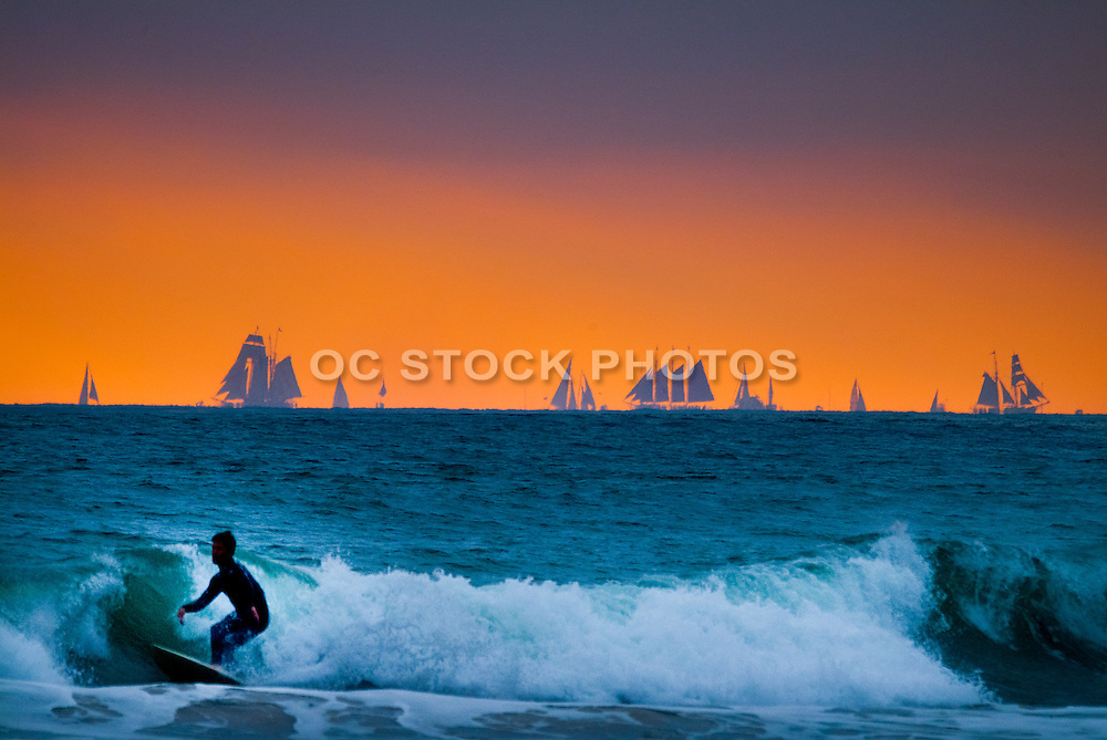 Silhouette of a Male Surfer at Sunset in Orange County
