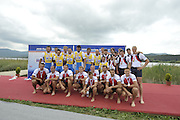 Banyoles, SPAIN, GBR M8+ Bronze medalist Tom WILKINSON. James FOAD, James ORME, Tom BURTON, Mohamed SBIHI, Tom SOLESBURY, Tom RANSLEY and James CLARKE cox Phelan HILL  FISA World Cup Rd 1. Lake Banyoles.  Sunday,  31/05/2009   [Mandatory Credit. Peter Spurrier/Intersport Images]