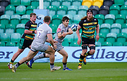 Sale Sharks fly-half AJ McGinty   passes to centre Sam Hill during a Gallagher Premiership Round 13 Rugby Union match, Saturday, Mar. 12, 2021, in Northampton, United Kingdom. (Steve Flynn/Image of Sport)
