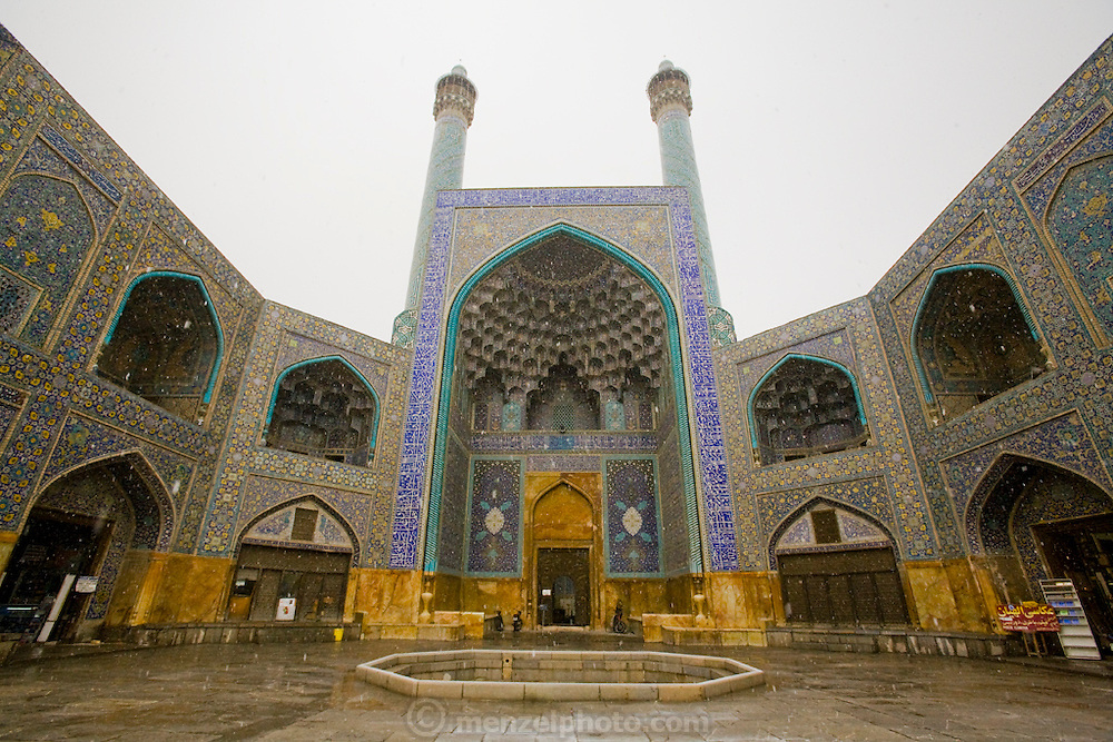 The entrance to the extravagantly tiled and decorated private mosque: Sheikh Lotfollah Mosque, in Imam Square, Isfahan, Iran. (Imam Square is also called Naghsh-i Jahan Square).
