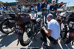 Richard Asprey with his 1915 Norton during the Motorcycle Cannonball Race of the Century. Lunch stop at S&P Harley-Davidson in Williamstown, WV on Stage-3 from Morgantown, WV to Chillicothe, OH. USA. Monday September 12, 2016. Photography ©2016 Michael Lichter.