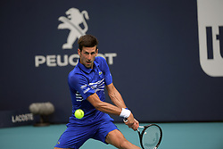 March 26, 2019 - Miami Gardens, Florida, United States Of America - MIAMI GARDENS, FLORIDA - MARCH 26: Roberto Bautista Agut of Spain defeats Novak Djokovic of Serbia during day 9 of the Miami Open presented by Itau at Hard Rock Stadium on March 26, 2019 in Miami Gardens, Florida...People: Novak Djokovic. (Credit Image: © SMG via ZUMA Wire)