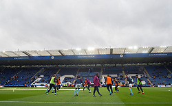 Manchester city players warm up prior to kick off. - Mandatory by-line: Alex James/JMP - 18/11/2017 - FOOTBALL - King Power Stadium - Leicester, England - Leicester City v Manchester City - Premier League