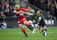 Rugby Union - 2019 / 2020 European Rugby Heineken Champions Cup - Pool One: Northampton Saints vs. Lyon<br /> <br /> Charlie Ngatai of Lyon is tackled by Rory Hutchinson of Northampton, at Franklin's Gardens.<br /> <br /> COLORSPORT/ANDREW COWIE