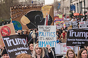 On Piccadilly - A march against racism and to ban the ban (against immigration from certain countries to the USA) is organised by Stand Up To Racism and supported by Stop the War and several unions. It stated with a rally at the US Embassy in grosvenor Square and ended up in Whitehall outside Downing Street. Thousands of people of all races and ages attended.