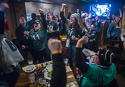 February 4, 2018 - Minneapolis, MN, USA - At Blarney Pub and Grill, Eagles fans sing one of their fight songs Sunday, Feb. 4, 2018 in Minneapolis, Minn. The bar was a designated Eagles fans drinking hole for many who came from out of town. (Credit Image: © Richard Tsong-Taatarii/TNS via ZUMA Wire)