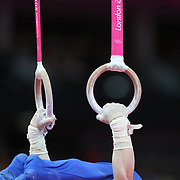Arthur Nabarrete Zanetti, Brazil, winning the Gold Medal in the Gymnastics Apparatus, Men's Rings Final at the London 2012 Olympic games. London, UK. 5th August 2012. Photo Tim Clayton
