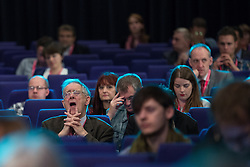 © Licensed to London News Pictures . 06/10/2014 . Glasgow , UK . Delegates in the audience during Jo Swinson 's speech this afternoon (6th October 2014) . The Liberal Democrat Party Conference 2014 at the Scottish Exhibition and Conference Centre in Glasgow . Photo credit : Joel Goodman/LNP