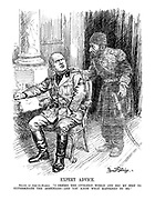 """Expert Advice. Shade of Abd-ul-Hamid. """"I defied the civilized world and did my best to exterminate the Armenians - and you know what happened to me."""" (Mussolini listens to the ghost of Turkish Sultan Abdulhamid II)"""