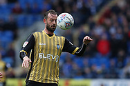 Steven Fletcher of Sheffield Wednesday in action . EFL Skybet championship match, Cardiff city v Sheffield Wednesday at the Cardiff City Stadium in Cardiff, South Wales on Saturday 16th September 2017.<br /> pic by Andrew Orchard, Andrew Orchard sports photography.
