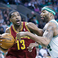 05 April 2013: Cleveland Cavaliers power forward Tristan Thompson (13) drives past Boston Celtics power forward Chris Wilcox (44) during the Cleveland Cavaliers 97-91victory over the Boston Celtics at the TD Garden, Boston, Massachusetts, USA.