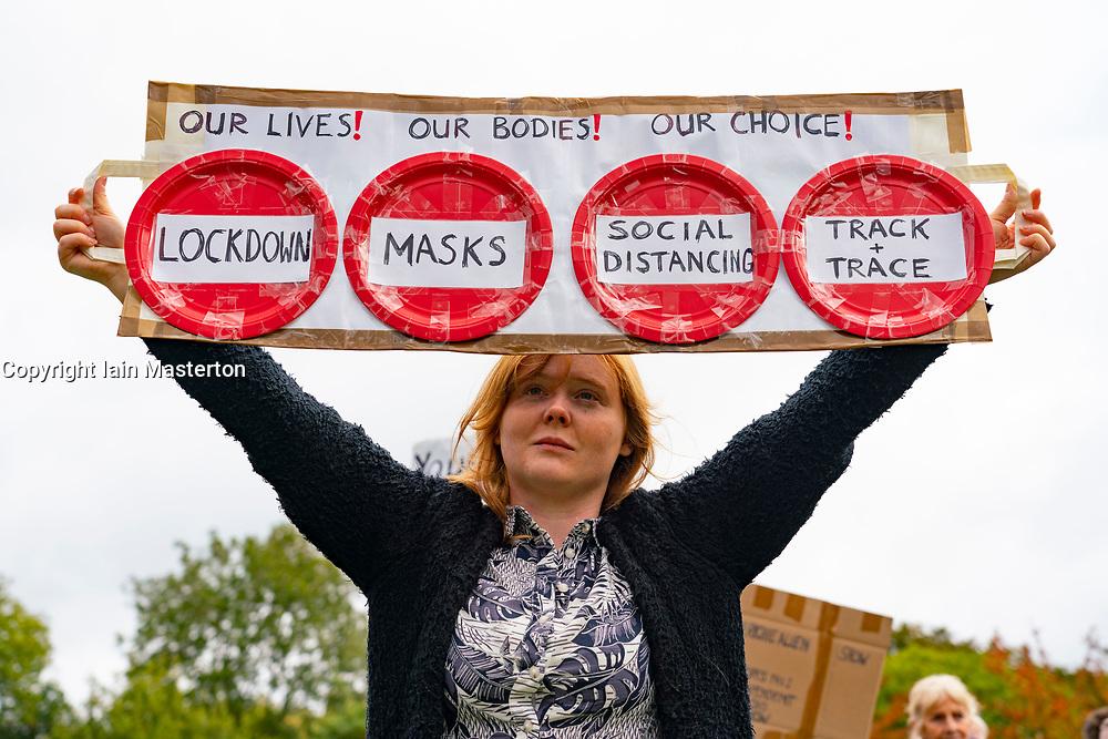 Edinburgh, Scotland, UK. 10 October 2020. Anti-lockdown, anti-vaccination anti-facemask demonstration by conspiracy theorists at Scottish Parliament building at Holyrood in Edinburgh today.  Iain Masterton/Alamy Live News