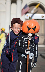 09 February 2016. New Orleans, Louisiana.<br /> Mardi Gras Day. Kids in costume in the French Quarter.<br /> Photo©; Charlie Varley/varleypix.com