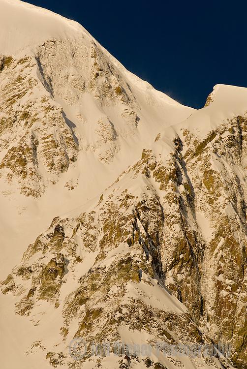 """Big Couloir"" off the summit of Lone Mountain.  Big Sky Resort, Big Sky, Montana."