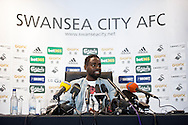 Swansea City player Nathan Dyer speaking at the Barclays Premier league pre match press conference at the Liberty Stadium in Swansea pic by Phil Rees/ Andrew Orchard sports photography.  <br /> contact and payments to Andrew Orchard, 2 Old Vicarage close,