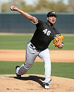 GLENDALE, ARIZONA - FEBRUARY 20:  Ivan Nova #46 of the Chicago White Sox pitches during spring training workouts on February 20, 2019 at Camelback Ranch in Glendale Arizona.  (Photo by Ron Vesely). Subject:   Ivan Nova