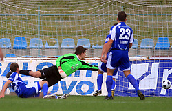 Goalkeeper Ales Luk (99) of Nafta gets a goal of Nezbedin Selimi (11) of Primorje at 12th Round of PrvaLiga Telekom Slovenije between NK Primorje vs NK Nafta Lendava, on October 5, 2008, in Town stadium in Ajdovscina. Nafta won the match 2:1. (Photo by Vid Ponikvar / Sportal Images)