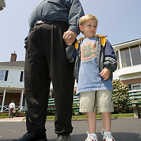 (PPAGE1) Oceanport 5/14/2005  Richard Sherm of Beachwood brought his 4 year old grandson Kevin Carlson to the race track.    Michael J. Treola Staff Photographer....MJT