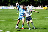 Jake Young (18) of Forest Green Rovers battles for possession during the Pre-Season Friendly match between Yate Town and Forest Green Rovers at the Jelf Stadium, Yate, United Kingdom on 17 July 2021.