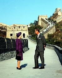 File photo dated 14/10/86 of Queen Elizabeth II and the Duke of Edinburgh on the Great Wall of China at the Bedaling Pass, 50 miles north-west of Peking, on the third day of their State Visit to the country. The Duke of Edinburgh has died, Buckingham Palace has announced. Issue date: Friday April 9, 2020.. See PA story DEATH Philip. Photo credit should read: PA Wire