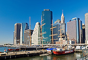 The South Street Seaport and skyline of the Financial District office building skyscrapers, Manhattan, New York City.