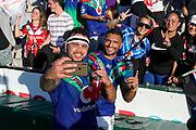 Jazz Tevaga and Marcelo Montoya pose for a selfie with fans. St George Dragons v Vodafone Warriors. NRL Rugby League, Netstrata Jubilee Stadium, Sydney, NSW, Australia, Sunday 18th April 2021 Copyright Photo: David Neilson / www.photosport.nz