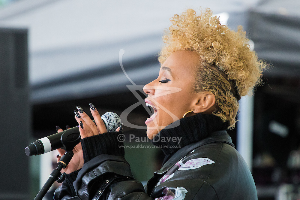 """City Hall, London, March 5th 2017. Stars join March4Women through London. Mayor of London Sadiq Khan and suffragette descendents prepare to march and """"sing for a fairer world ahead of International Women's Day"""". Attended by Annie Lennox, Emeli Sande, Helen Pankhurst, Bianca Jagger and with musical performances from Emeli Sande, Melanie C and more. PICTURED: Emile Sandé"""