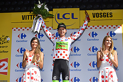 July 4, 2017 - Mondorf Les Bains / Vittel, Luxembourg / France - VITTEL, FRANCE - JULY 4 : BROWN Nathan (USA) Rider of Cannondale - Drapac team pictured during the podium ceremony in the polka dots jersey stage 4 of the 104th edition of the 2017 Tour de France cycling race, a stage of 207.5 kms between Mondorf-Les-Bains and Vittel on July 04, 2017 in Vittel, France, 4/07/2017 (Credit Image: © Panoramic via ZUMA Press)