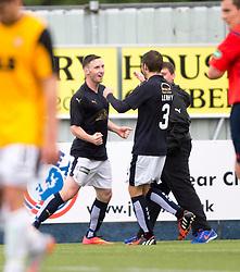 Falkirk's Bob McHugh (left) celebrates after scoring their third goal. Falkirk 3 v 1 East Fife, Petrofac Training Cup played 25th July 2015 at The Falkirk Stadium.