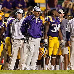 November 13, 2010; Baton Rouge, LA, USA; LSU Tigers head coach Les Miles on the sideline during the second half against the Louisiana Monroe Warhawks at Tiger Stadium. LSU defeated Louisiana-Monroe 51-0.  Mandatory Credit: Derick E. Hingle