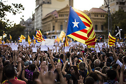 October 21, 2017 - Barcelona, Catalonia, Spain - 450,000 protesters rally in Barcelona against the arrest of President of the Omnium Cultural Jordi Cuixart and president of the Catalan National Assembly Jordi Sanchez during the day that  Spain moves to impose direct rule 155 over Catalonia and arrest regions president as tensions threaten to boil over. Spain, Barcelona on October 21 of 2017. (Credit Image: © Xavier Bonilla/NurPhoto via ZUMA Press)