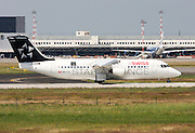 Swiss Global Air Lines, British Aerospace Avro 146-RJ100. Photographed at Malpensa airport, Milan, Italy