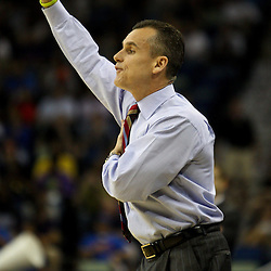 Mar 26, 2011; New Orleans, LA; Florida Gators head coach Billy Donovan against the Butler Bulldogs during the first half of the semifinals of the southeast regional of the 2011 NCAA men's basketball tournament at New Orleans Arena.   Mandatory Credit: Derick E. Hingle