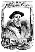 Ferdinand Magellan (c1480-1521) Portugese navigator. Led first expedition to cirumnavigate the globe. Rounded Magellan Strait from Atlantic to Pacific, October-November 1519. Engraving published Paris 1868