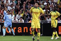 Fotball<br /> Frankrike 2005/2006<br /> Foto: Dppi/Digitalsport<br /> NORWAY ONLY<br /> <br /> FOOTBALL - FRENCH CHAMPIONSHIP 2005/2006 - FC NANTES v AC AJACCIO - 13/08/2006 - JOY KAMEL CHAFNI / EDSON DE FARIA (AJA) / NANTES DISAPPOINTMENT
