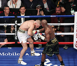 August 27, 2017 - Las Vegas, Nevada, United States of America - Boxer Floyd  Mayweather jr stops UFC fighter Conor McGregor in the 10th round of their super welterweight boxing match on August 26, 2017 at T-Mobile  Arena in Las Vegas, Nevada (Credit Image: © Marcel Thomas via ZUMA Wire)