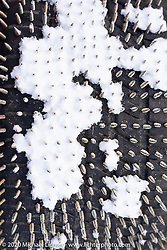 The amazing array of spikes went into every tire that raced on the ice at the Baikal Mile Ice Speed Festival. Maksimiha, Siberia, Russia. Thursday, February 27, 2020. Photography ©2020 Michael Lichter.