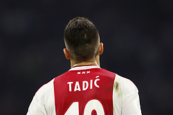 Dusan Tadic of Ajax during the UEFA Champions League play offs round first leg match between Ajax Amsterdam and Dynamo Kyiv at the Johan Cruijff Arena on August 22, 2018 in Amsterdam, The Netherlands