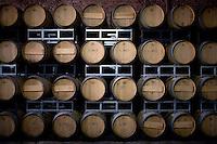 Oak casks are stacked together at Bodegas Escorihuela in Mendoza, Argentina.