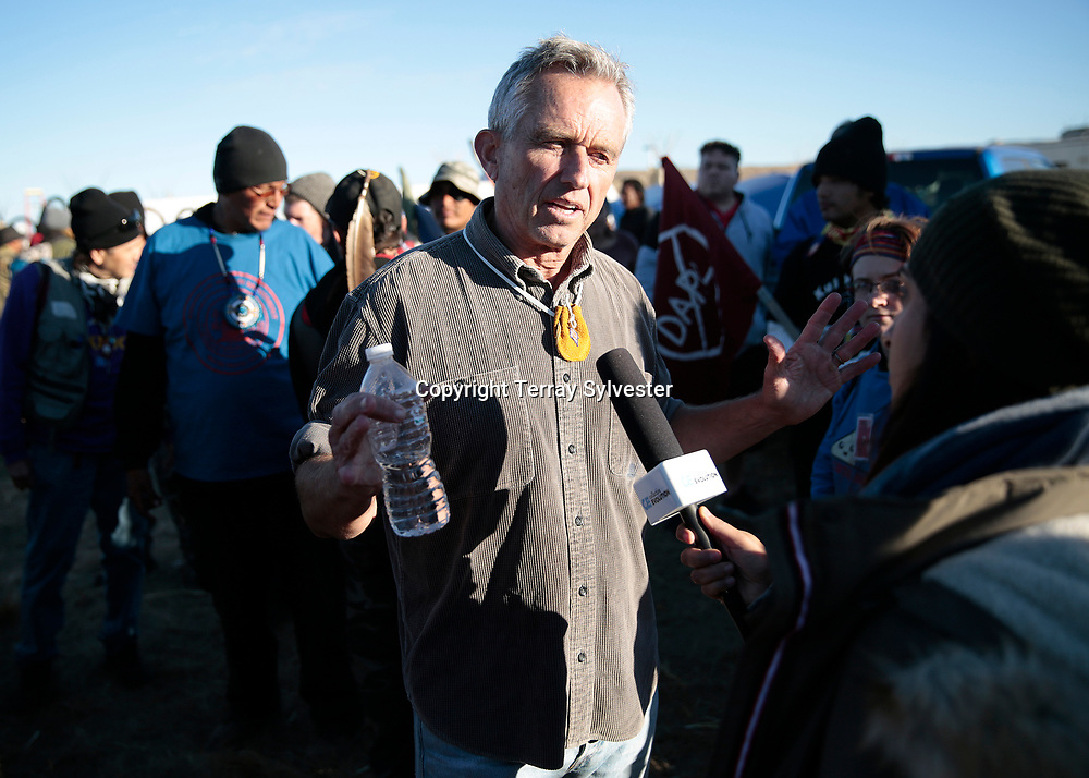 Lawyer and environmental activist Robert F. Kennedy Junior gives an interview in the opposition camp against the Dakota Access oil pipeline on November 15, 2016. Cannon Ball, North Dakota, United States.