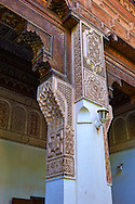 Mocarabe Berber arabesque plasterwork capitals.The Petite Court, Bahia Palace, Marrakesh, Morroco .<br /> <br /> Visit our MOROCCO HISTORIC PLAXES PHOTO COLLECTIONS for more   photos  to download or buy as prints https://funkystock.photoshelter.com/gallery-collection/Morocco-Pictures-Photos-and-Images/C0000ds6t1_cvhPo<br /> .<br /> <br /> Visit our ISLAMIC HISTORICAL PLACES PHOTO COLLECTIONS for more photos to download or buy as wall art prints https://funkystock.photoshelter.com/gallery-collection/Islam-Islamic-Historic-Places-Architecture-Pictures-Images-of/C0000n7SGOHt9XWI