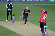 Hampshire all-rounder Gareth Berg bowling during the Royal London One Day Cup match between Hampshire County Cricket Club and Essex County Cricket Club at the Ageas Bowl, Southampton, United Kingdom on 5 June 2016. Photo by David Vokes.