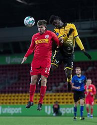 Mads Døhr Thycosen (FC Nordsjælland) og James Gomez (AC Horsens) under kampen i 3F Superligaen mellem FC Nordsjælland og AC Horsens den 19. februar 2020 i Right to Dream Park, Farum (Foto: Claus Birch).