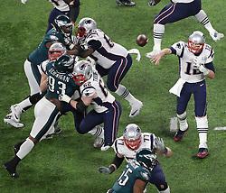 New England Patriots quarterback Tom Brady (12) throws a pass in the fourth quarter against the Philadelphia Eagles on Sunday, February 4, 2018 at U.S. Bank Stadium in Minneapolis, Minn. Photo by Elizabeth Flores/Minneapolis Star Tribune/TNS/ABACAPRESS.COM