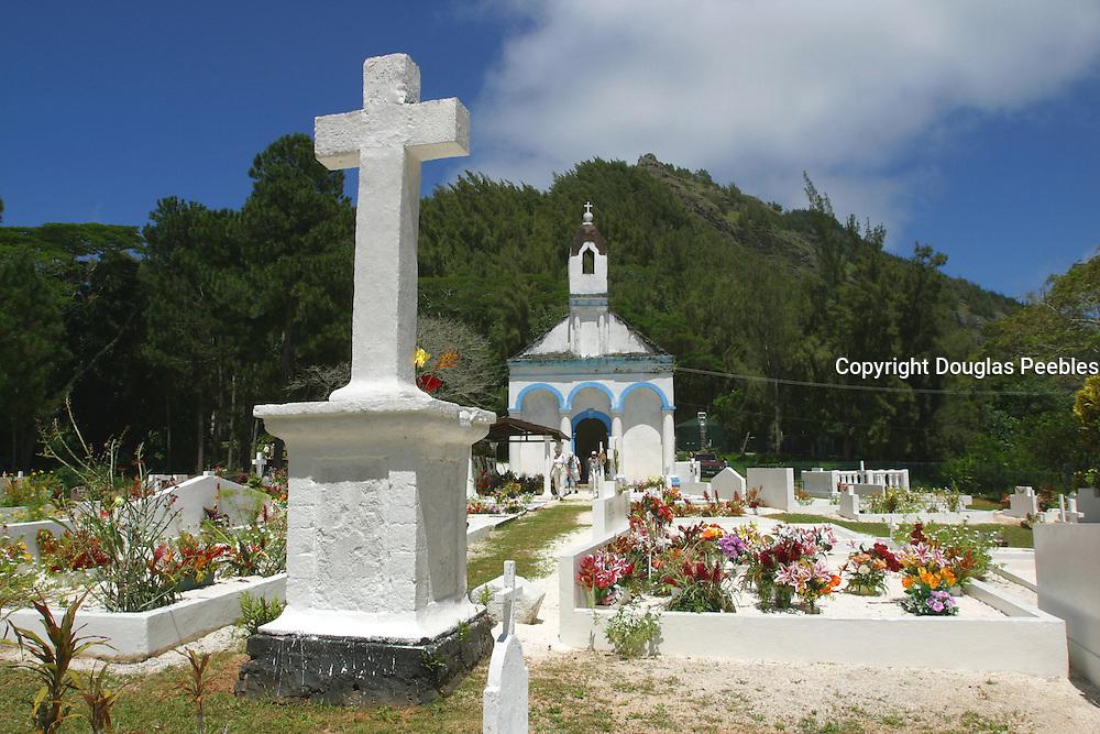 Cemetary and last kings (Maputeoa 1868) tomb, Mangareva, Gambier Islands, French Polynesia<br />